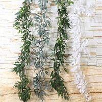 30pcs Artificial Willow Leaf Vines white/green Olive Tree Stem Willow Tree Branches for Wedding Party Decoration