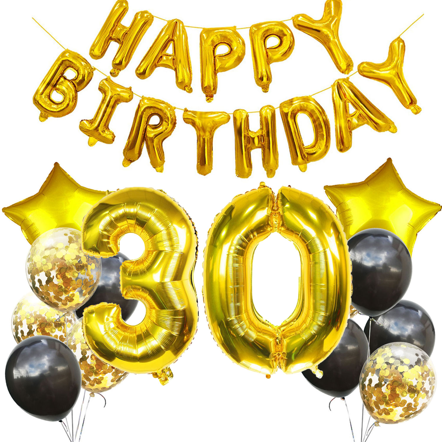 AMAWILL 30th Happy Birthday Balloons Banner 30 Years Old Confetti Balloons Great And Perfect Party Decoration Men Women Supplies