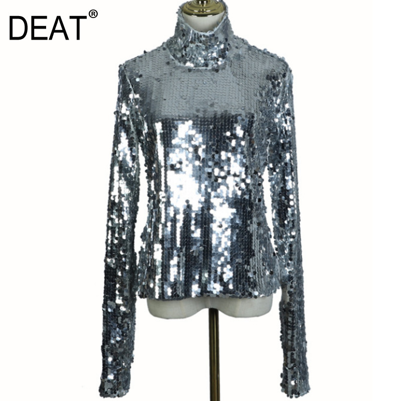 DEAT 2020 New Spring Fashion Women Turtleneck Full Sleeves Sequins Slim T-shirt Femael Sliver Brling Top WC83910S