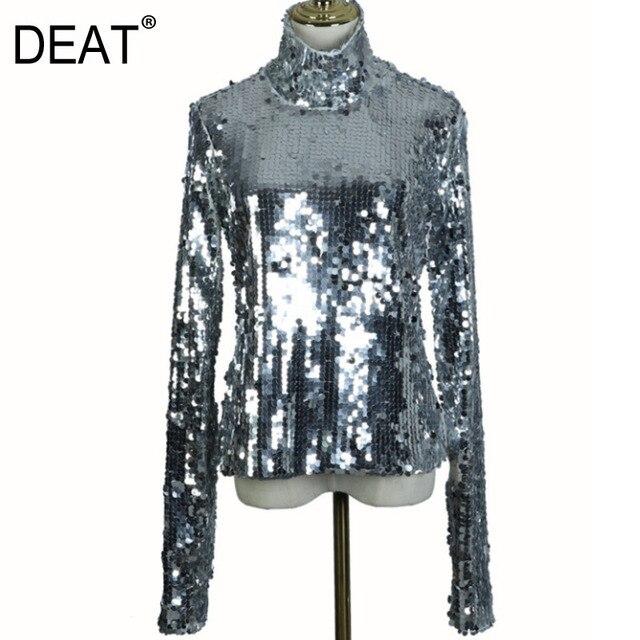 DEAT 2020 New Spring Fashion Women Turtleneck Full Sleeves Sequins Slim T shirt Femael Sliver Brling Top WC83910S