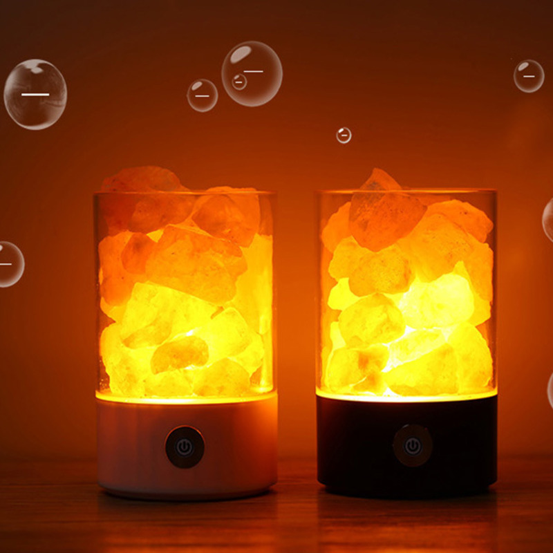 Himalayan Salt Lamp USB Novelty Crystal Light Air Purifier Night Light Rechargeable Bedside Salt Lamp Relieving Stress Lampada