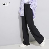 VGH Spring Trousers For Women Pant Elastic High Waist Letter Sashes Loose Oversize Black Wide Leg Pants 2019 Fashion Korean New
