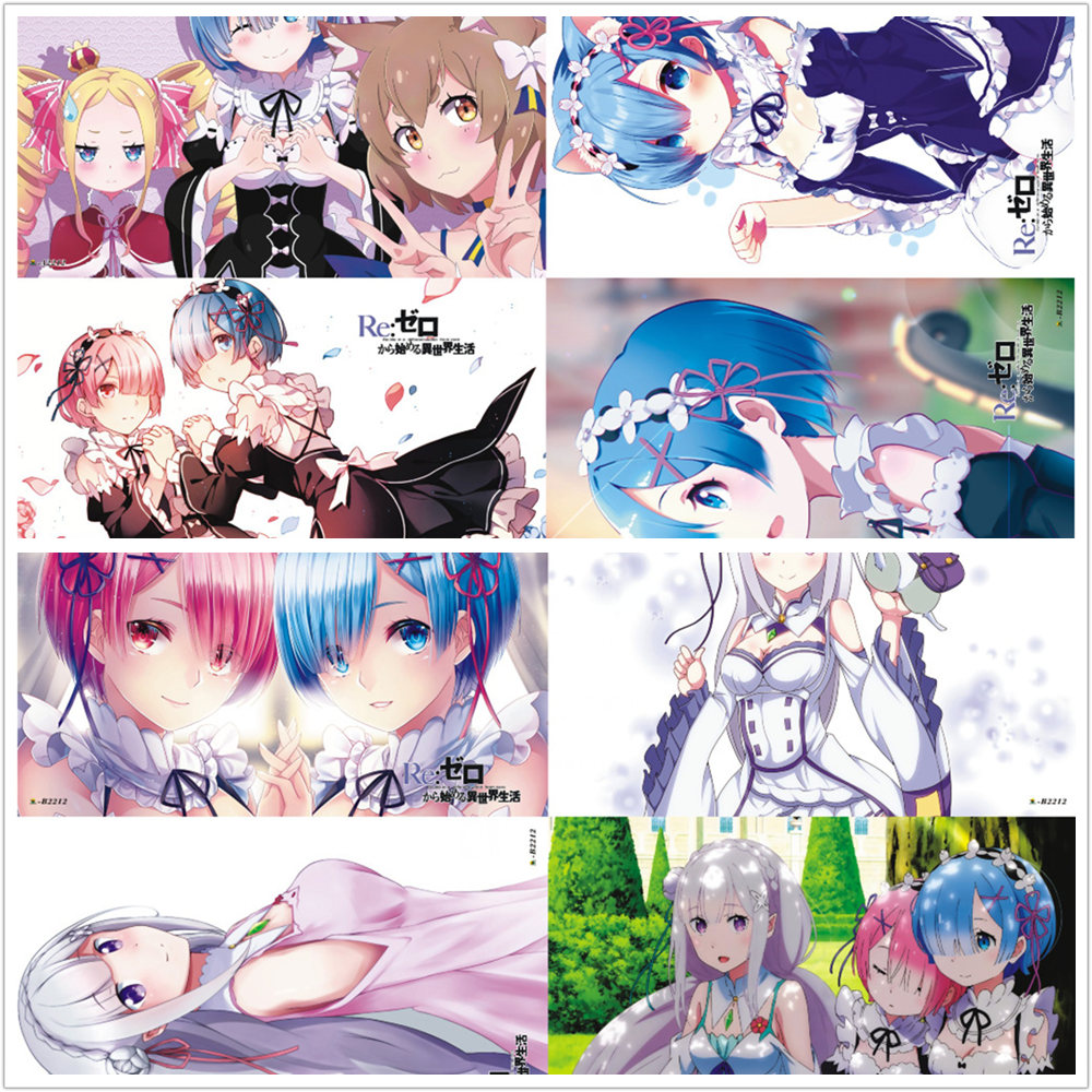 8 Pcs/set Anime Re Life In A Different World From Zero Embossed Poster Figure Natsuki Subaru Emilia Rem Ram Sticker For Gifts
