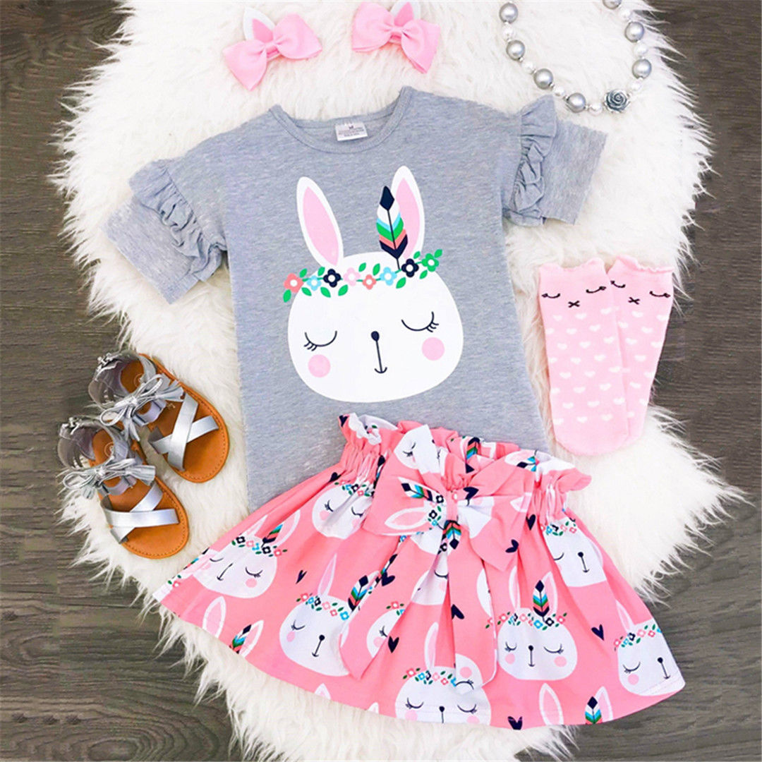 Pudcoco Girl Set 9M-5T Newborn Kids Baby Girls Bunny Tops T-shirt Bowknot Skirt Outfits Clothes