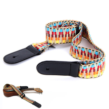 Hootenanny Style Guitar Straps Retro Braided Cotton Genuine Leather Adjustable length Straps for Ukulele Guitar Accessories handmade leather guitar bass straps can be customized guitar accessories