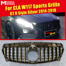 W117 GTS Style Grille ABS Silver Mesh Without emblem Fits For Sports CLA180 CLA200 CLA250 Front Bumper Grilles 2014-2018