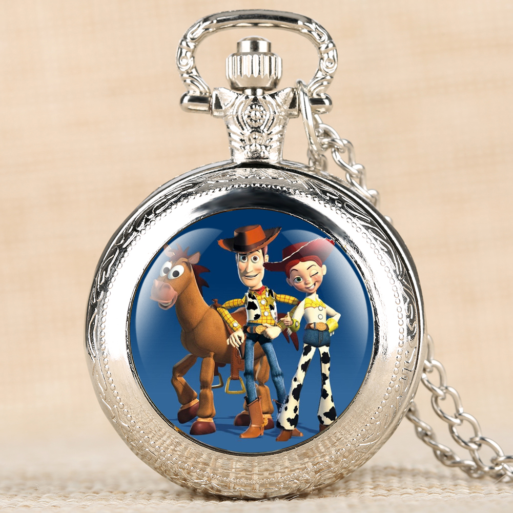 Cartoon Pattern Pocket Watch Movie Theme Toystory Quartz Pocket Watches Pendant Clock With Necklace Chain Best Gifts For Kids