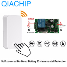 цена на QIACHIP 433Mhz Self Power Wireless Remote Control Switch AC 110V 220V 1CH Relay Receiver Module Unlimited Battery Transmitter