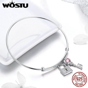 Image 3 - WOSTU, новинка, 100% Стерлинговое Серебро 925 пробы, браслеты с ключом и замком для женщин, браслеты для свадьбы, помолвки, серебро 925 пробы, ювелирное изделие, подарок для любви, CQB127