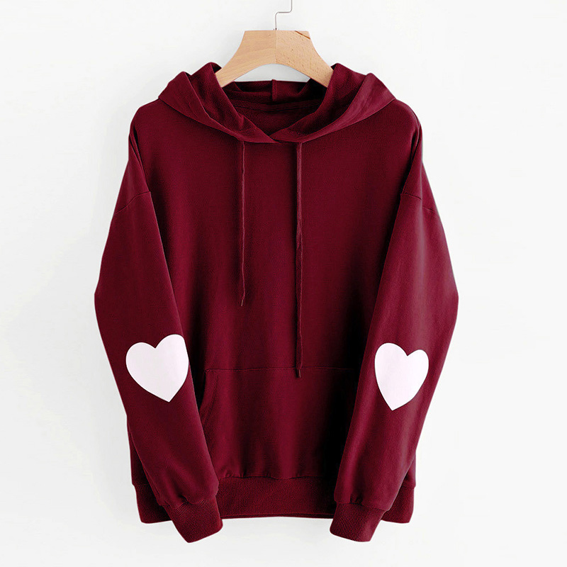 2019 New Fashion Harajuku Women Hoodies Heart Pattern Long Sleeve Casual Loose Sweatshirts Female AutumnPullover Tops moletom