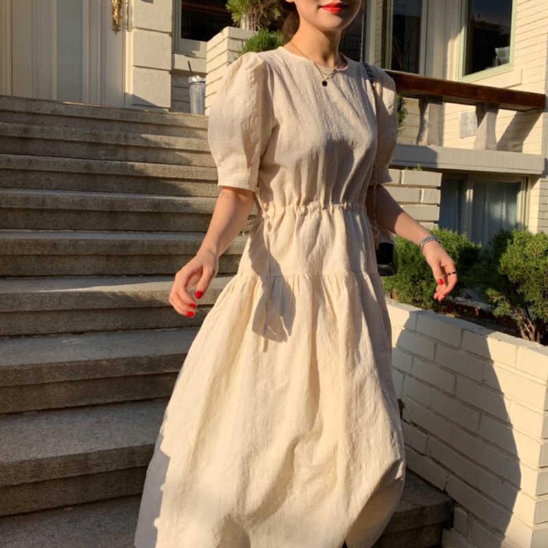 LANMREM/2019 новые летние корейские модные женские платья с круглым вырезом и завязкой с рукавом-фонариком свободные, QG092