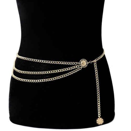 Женский модный ремень бедра, высокая талия с узкой Золотой толстая металлическая цепочка с бахромой цепочки для тела