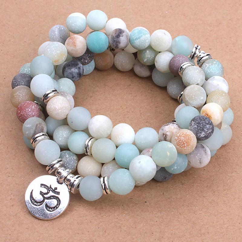 Women 108 Beads Bracelet Natural Charm Necklace Rosary Yoga Adjustable Strand Bracelet