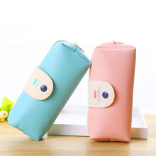 korean candy color pencil case PU leather pencil bag for girl stationery estojo escolar school supplies