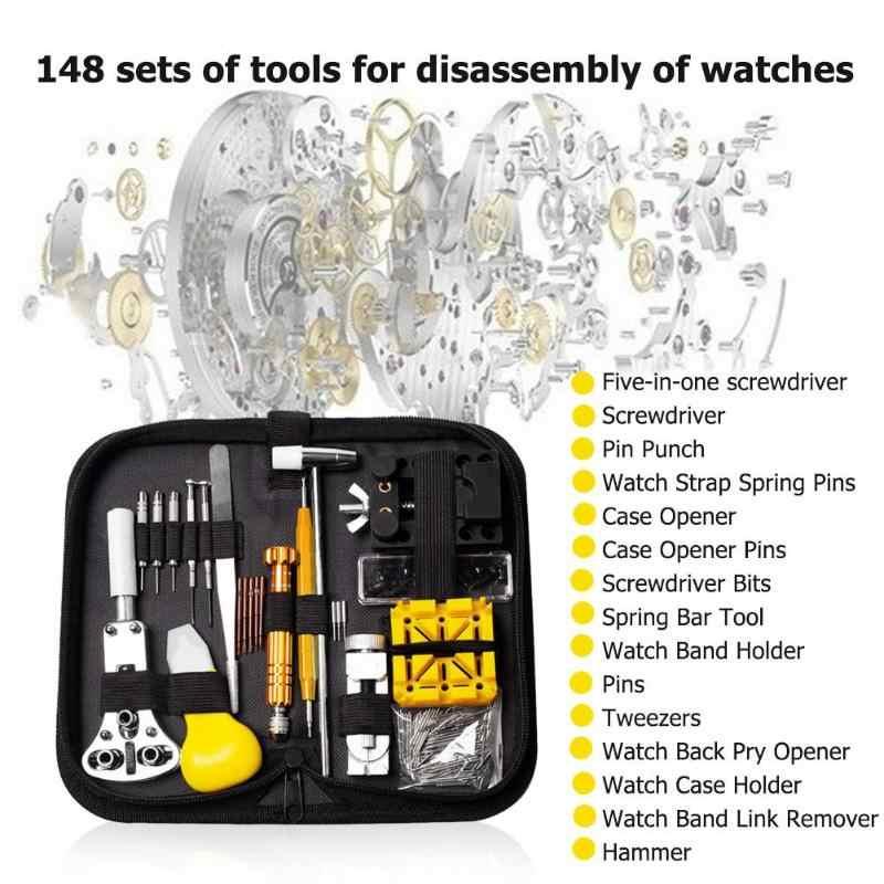 148 Pcs/set Professional Watch Tools Watch Pembuka Link Pin Remover Membongkar Obeng Watch Perbaikan Alat Kit Jam Bagian