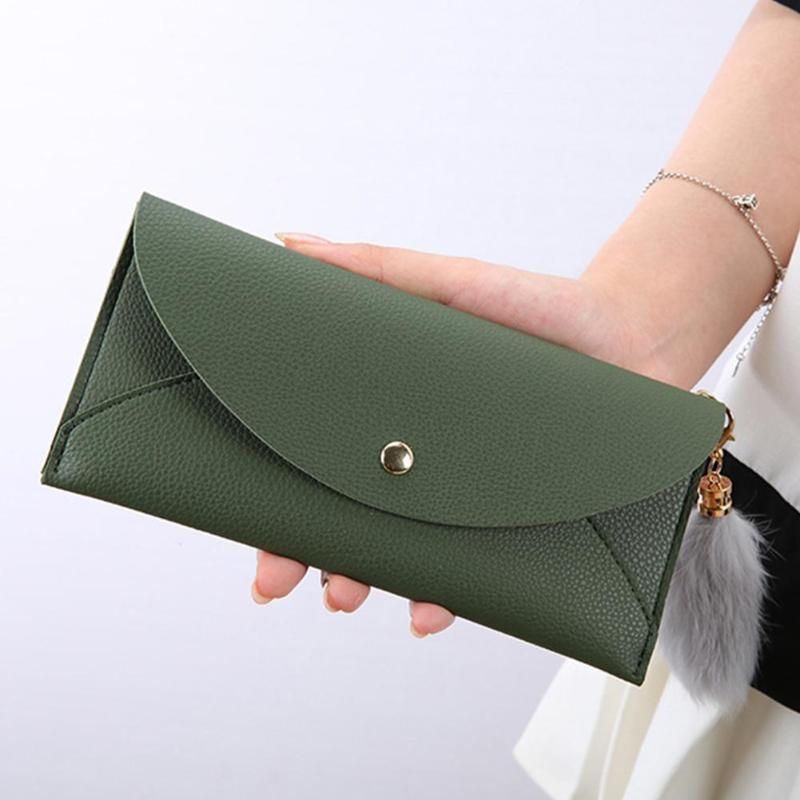 Elegant Women Pure Color Wallet Purses Tassels