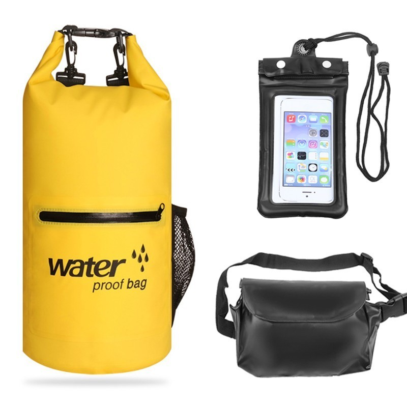 10L/20L Waterproof Bag Set With Phone Pouch Waist Bag Outdoor Dry Bag Kayaking Swimming Camping River Trekking Water Resistance