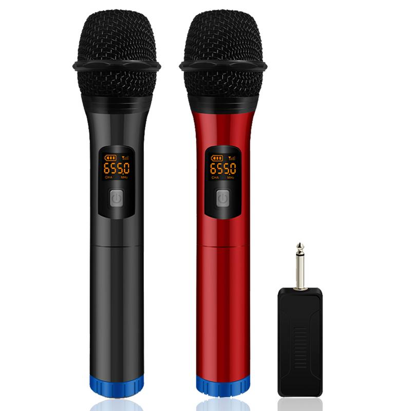 H18L ABS Paint Universal Bluetooth Wireless Microphone Stage Family Karaoke Singing Outdoor Audio One For Two Microphone UHF