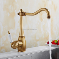 GIZERO Newly Single Hole Handle Swivel 360 Degree Faucet Antique Brass Mixer Tap With Hot Cold Hose Kitchen Sink Faucet GI2123