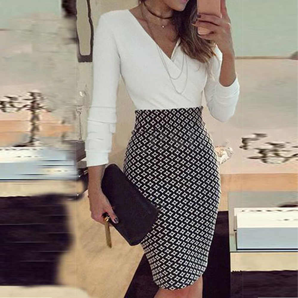 Women's Office dress Formal Business Stretch Cocktail Party elegant grid patchwork sheath Slim OL work mini lady Pencil Dress