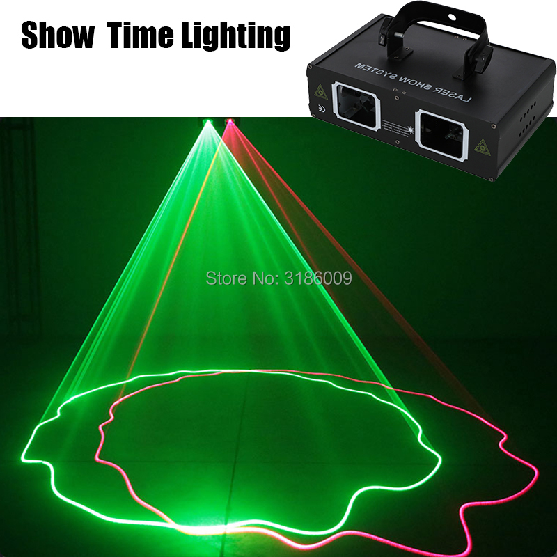 Show Time Full Color RGB DMX 512 Laser Scanner Projector Stage Lighting Effect Party Xmas DJ Disco Show Lights Double Head Laser