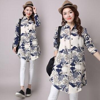#2913 Long Sleeve Cotton Linen Vintage Shirt Female Casual Retro Floral Print Asymmetrical Long Shirt For Women Spring Autumn