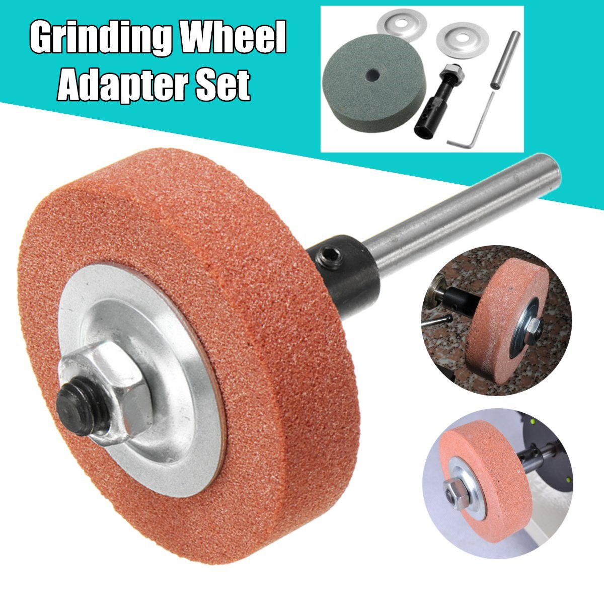 70x20x10mm 120-150 Grit Grinding Wheel Adapter Set Abrasive Tools Electric Drill Change Into Grinding Machine Wheel Plus