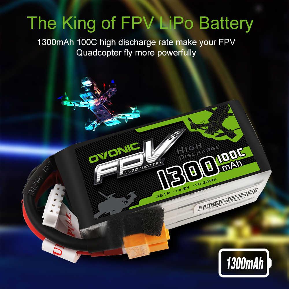 2 paquetes OVONIC 1300mAh 100C Max 200C Lipo 4S 14,8 V batería con conector XT60 para 250 FPV marco RC Drone Heli Quad barco