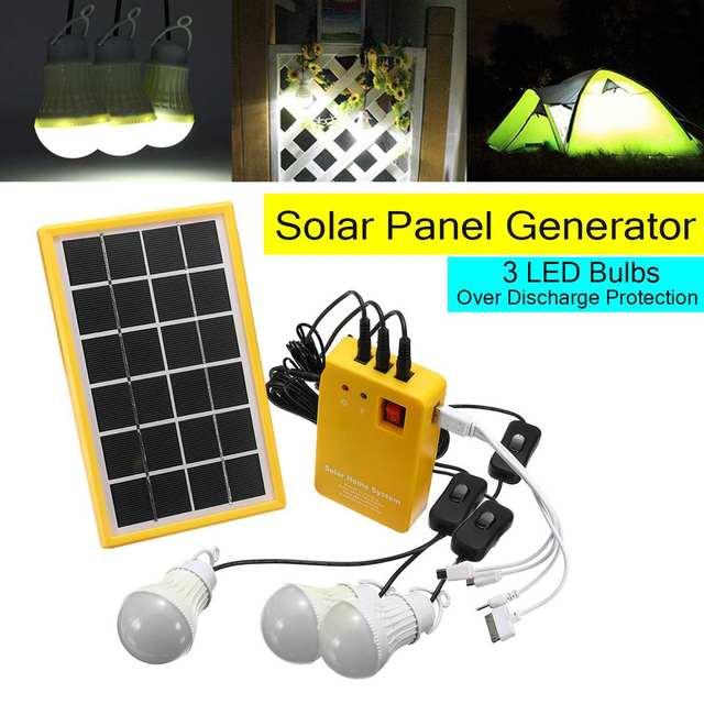 Light Solar Power Panel Generator Kit 5V USB Charger Home System with 3 LED Bulbs Indoor/Outdoor Lighting Over Discharge Protect