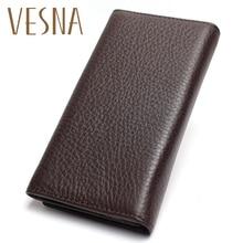 Vesna 2019 Mens China Manufacturer Wallet 100% Genuine Leather Black Color For Business Man Vintage Wallets Men