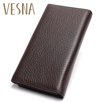 Vesna 2019 Men's China Manufacturer Wallet 100% Genuine Leather Black Color For Business Man Vintage Wallets Men Leather