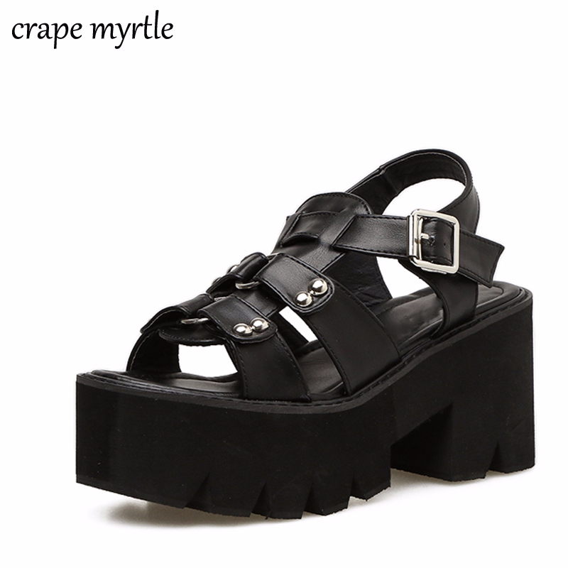 a8a9545a684 US $26.95 46% OFF platform shoes gladiator sandals women summer shoes ankle  strap heels sandales femmes strass women chunky sandals shoes YMA258-in ...
