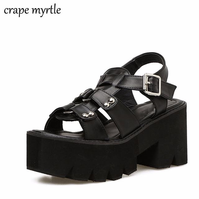 09caa8c1261 platform shoes gladiator sandals women summer shoes ankle strap heels  sandales femmes strass women chunky sandals shoes YMA258