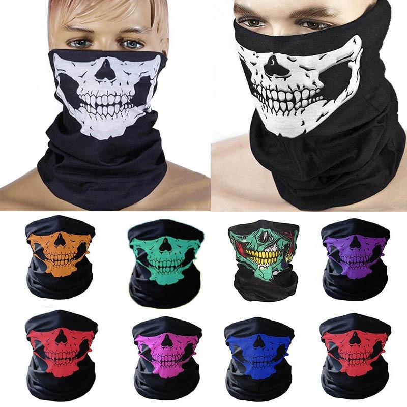 1pcs Outdoor Face Mask Skull Pattern Headband Magic Scarf Multifunction Wind-proof Sports Turban Cycling Bike Neck Tube