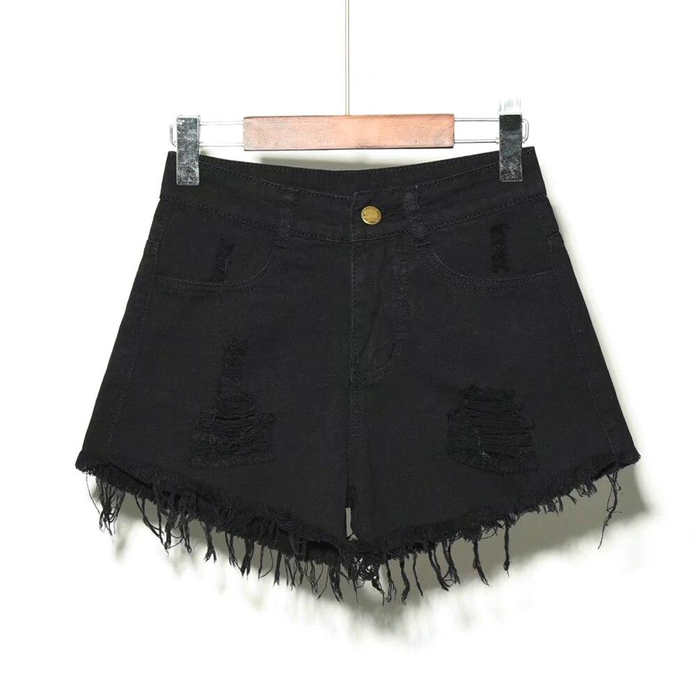 Pantalones Agujeros gris Negro Alta azul Cintura De Mujeres Corta azul Vaqueros Cielo Mezclilla Vintage Verano Las qRzvPZwp