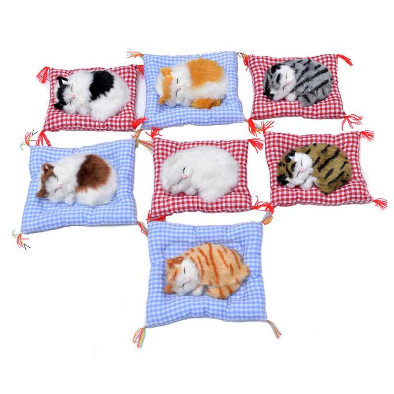 1pc Cute Plush Toys Simulation Animal Doll Plush Sleeping Cats Stuffed Craft Toy with Sound For Children Home Decor random color