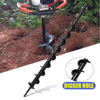 60mm Steel Auger Garden Bit Drill Petrol Post Hole Digger Planting Tree Tools DIY Digging Machine Power Tools Accessories 800mm