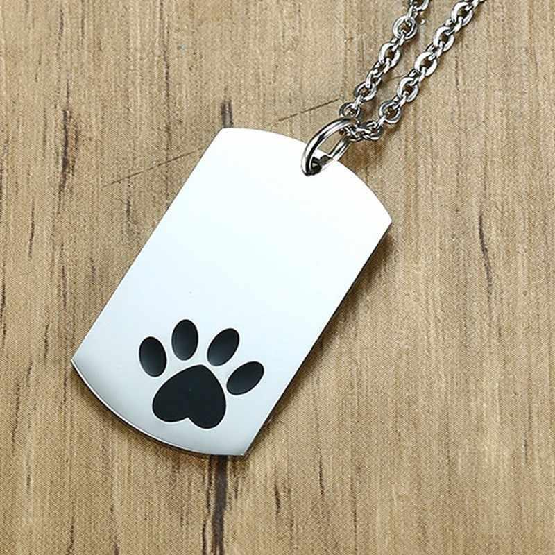 Cópia Da Pata do Animal de Estimação ID Tag de Cão personalizado Gravado Nome Do Amante Dos Animais Identificação Tag Homens Colar Em Cadeia Link 20 polegada 24 polegada