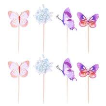 24 adet Cupcake Toppers kağıt güzel kelebek çiçek desen kek alır kek dekor tatlı dükkanı için doğum günü partisi bebek duş