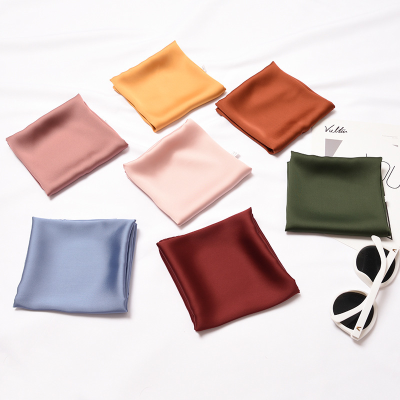 Solid Pure Color Ins Chic Silk Bandana Neckerchief Women Ladies Soft Satin Silk   Scarf     Wraps   Top Quality Rolled Edges 53x53cm