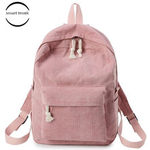 Preppy Style Soft Fabric Student Backpack Female Corduroy Design School Backpacks For Teenage Girls Striped Backpack Women цена