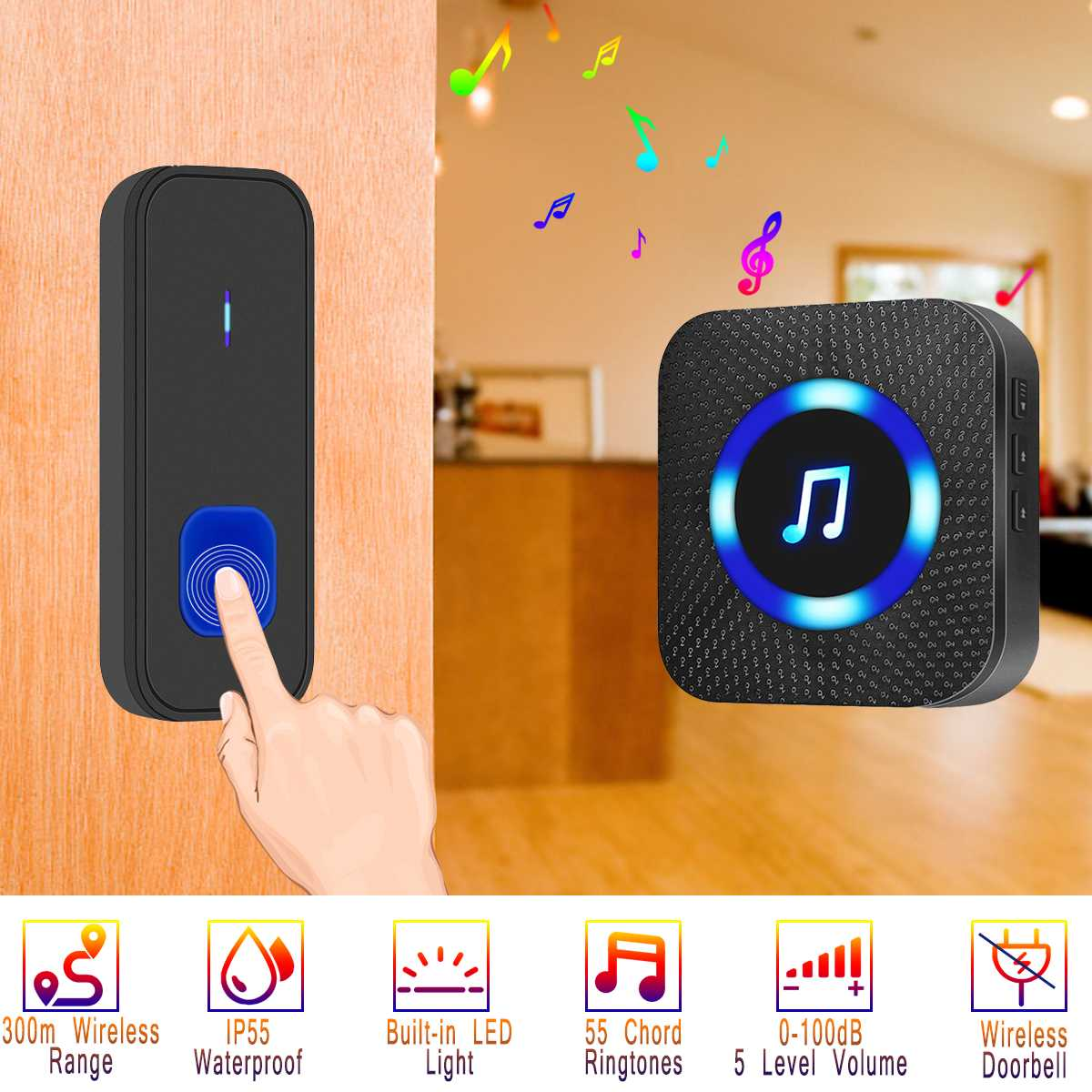 Doorbell Wireless Led Flash Waterproof Door Bell Cordless 300m Range 55 Chime Doorbell Uk/eu/us Plug For Villas Hotels Schools 5-level Preventing Hairs From Graying And Helpful To Retain Complexion Security & Protection