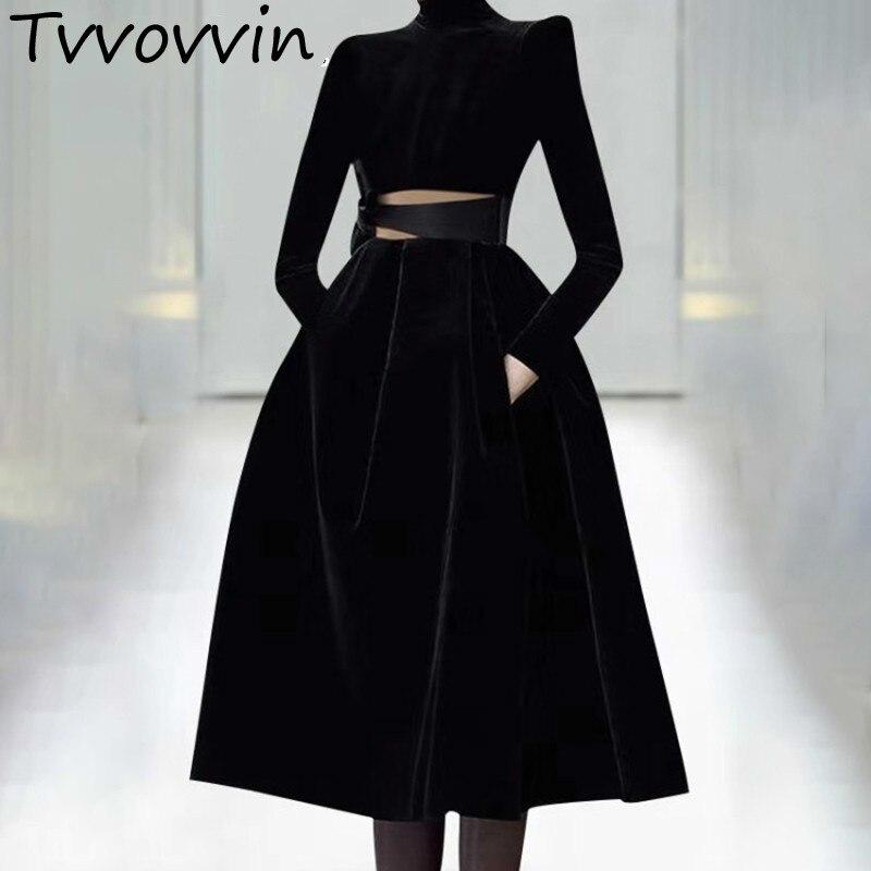TVVOVVIN robes de soirée femmes col roulé à manches longues Bowknot évider robe femme Plus tailles 2019 printemps L504