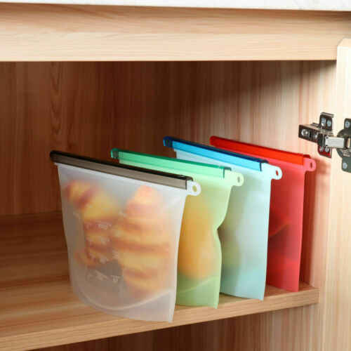 Kitchen Storage  Silicone Food Storage Bag Freezer Reusable Seal Ziplock Vacuum Saran Wrap Plastic Bags