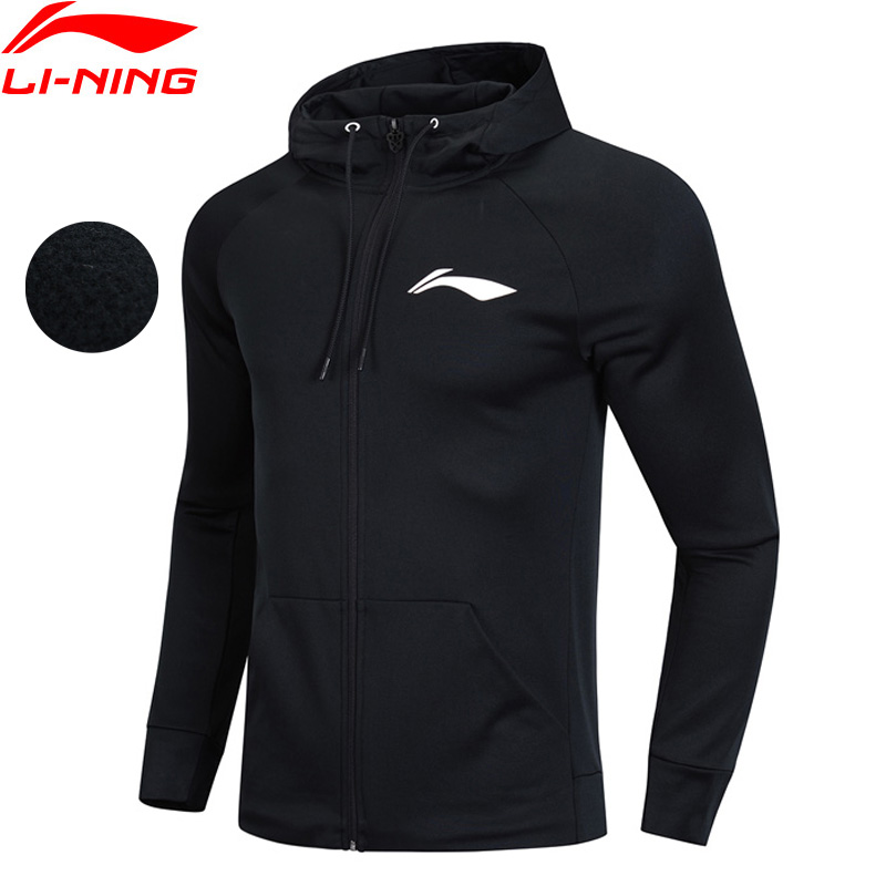 Li Ning Men Basketball Series Hoodie Warm Fleece 100 Polyester Regular Fit Zipper Closure LiNing Sports