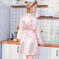 Embroidery Wedding Bridesmaid Robes Pink Belt Bath Robe Women Sexy Nightwear Bathrobe Nightgown Bride Robes Kimono Sleepwear New