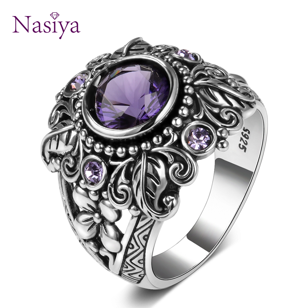 925-Sterling-Silver Ring Gemstone-Rings Amethyst Vintage Jewelry Nature-Stone Wedding-Anel title=