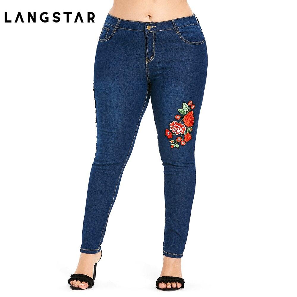 Plus Size 5XL High Waist   Jeans   Women Floral Flower Embroidered   Jeans   Big Size Blue Skinny Denim Pants   Jeans   Mom Ladies Femme