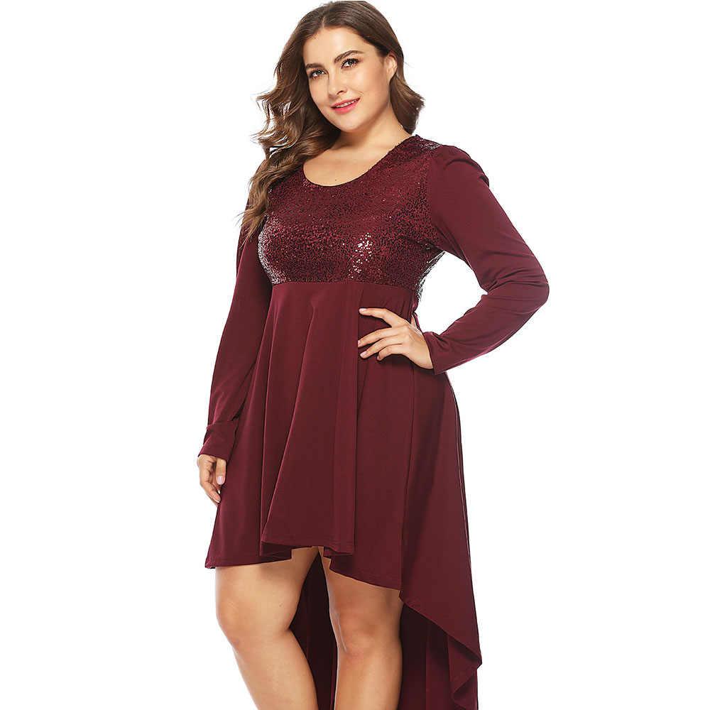 e70f15f6ee Wipalo Plus Size Paillette Irregular Long Sleeve Dress Elegant Sequins High  Low Hem Party Dress Spring Fall Casual Vestidos 5XL