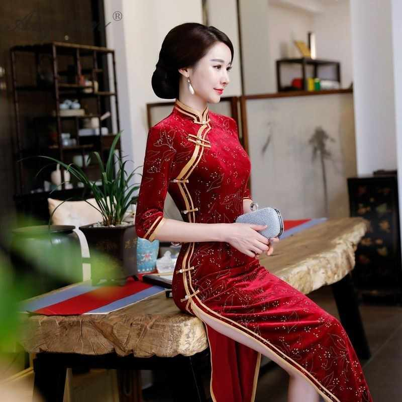 69d53ec1d6a1 ... Silk Velvet Cheongsam Mother-in-law Wedding Mom Qipao Chinese  Traditional Dress Evening Gown